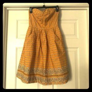 Anthropologie yellow sweetheart neckline sundress